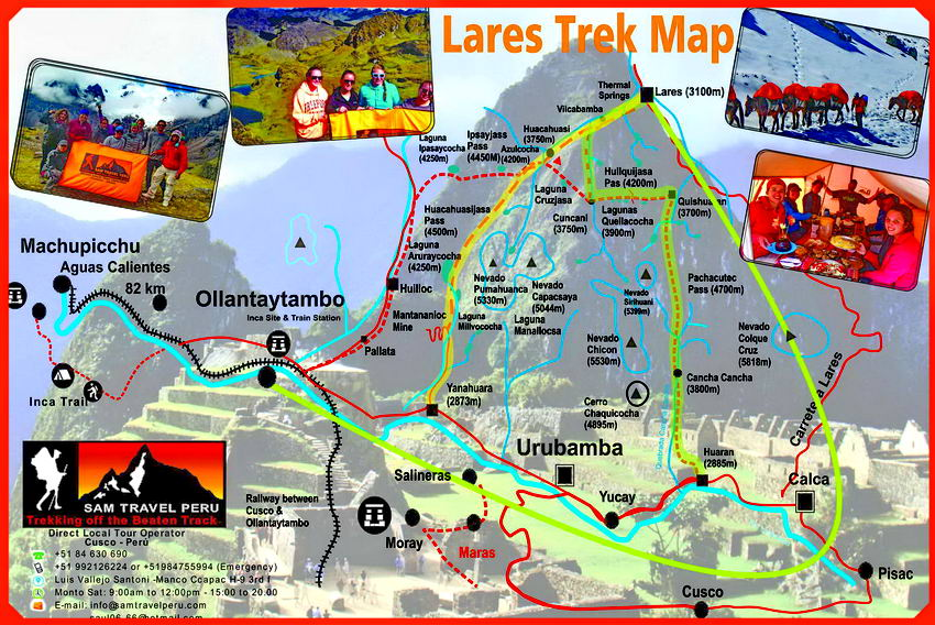 Lares trek to Machu Picchu map